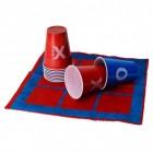 Tic Tac Toe Trinkspiel mit Spielfeld und 10 Bechern