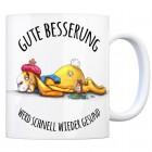 Kaffeebecher mit Hase Motiv und Spruch: Gute Besserung, werd schnell wieder ...