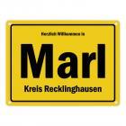 Herzlich willkommen in Marl, Westfalen, Kreis Recklinghausen Metallschild