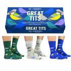 Kohlmeise - great tits Socken mit Geschenkverpackung in 39-46 (3 Paar)