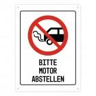 Bitte Motor abstellen Warn- und Hinweisschild in Weiß mit Piktogramm