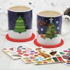 Weihnachtsbaum DIY Kaffeebecher mit Aufklebern