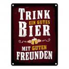 Gutes Bier mit Freunden Blechschild in 15x20 cm