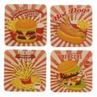 Die Fast Food Diner Untersetzer aus Pappe im 12er Set