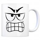 Tassengesichter Kaffeebecher mit aggressives Gesicht Motiv