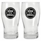 2er Set King of the Grill Biergläser mit Logo in schwarz