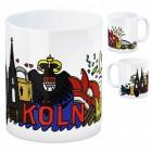 Wimmelgrafik Kaffeebecher mit Motiv: Köln