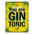 Metallschild mit Gin Tonic Motiv und Spruch: Gin to my Tonic