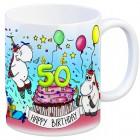 Honeycorns Tasse zum 50. Geburtstag mit Muffin und Einhorn Party