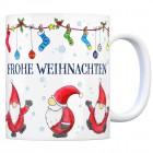 Kaffeebecher mit Weihnachtsmann Motiv und Spruch: Frohe Weihnachten