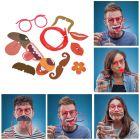 Trinkbrille Strohhalm mit 9 Mundmasken