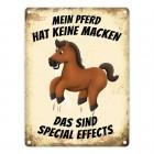 Metallschild mit Pferd Motiv und Spruch: Mein Pferd hat keine Macken, das ...