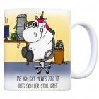 Honeycorns Kaffeebecher mit Einhorn Motiv und Spruch: Highlight meines Jobs...