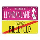Willkommen im Einhornland - Tschüss Bielefeld Einhorn Metallschild