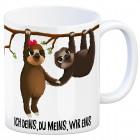 Kaffeebecher mit Faultier Pärchen Motiv und Spruch: Ich deins, du meins, wir eins