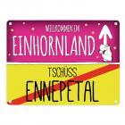 Willkommen im Einhornland - Tschüss Ennepetal Einhorn Metallschild