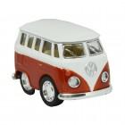 Volkswagen VW T1 Bus Comic Style Modellauto in orange mit Rückziehmotor