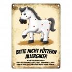 Metallschild mit weißes Pferd Motiv und Spruch: Bitte nicht füttern - Allergiker