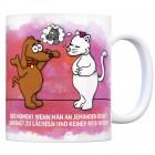 Kaffeebecher mit Katze und Hund Motiv und Spruch: Der Moment wenn man an Jemanden ...