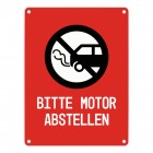 Bitte Motor abstellen Warn- und Hinweisschild in Rot mit Piktogramm