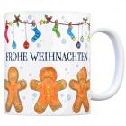 Kaffeebecher mit Lebkuchenmänner Motiv und Spruch: Frohe Weihnachten