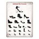 Sehtest für Frauen Blechschild mit verschiedenen Schuhen in 15x20 cm