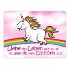 Einhorn - Liebe das Leben Blechschild in 15x20 cm