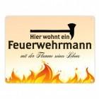 Feuerwehrmann mit der Flamme seines Lebens Blechschild in 15x20 cm Comic-Style