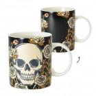 Totenkopf und Rosen Kaffeebecher mit Wärmeeffekt