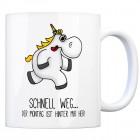 Honeycorns Kaffeebecher mit Einhorn Motiv und Spruch: Schnell weg... der Montag ist ...