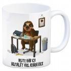 Kaffeebecher mit Faultier im Büro Motiv und Spruch: Heute hab ich brutalst viel keinen ...