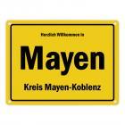Herzlich willkommen in Mayen, Kreis Mayen-Koblenz Metallschild