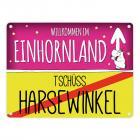 Willkommen im Einhornland - Tschüss Harsewinkel Einhorn Metallschild