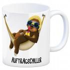 Kaffeebecher mit Faultier in Hängematte Motiv und Spruch: Auftragschiller