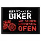 Motorrad Fußmatte mit Bike Motiv mit Spruch: Hier wohnt ein Biker
