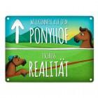 Metallschild mit Pferde Motiv und Spruch: Willkommen auf dem Ponyhof