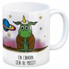 Kaffeebecher mit Einhorn Motiv und Spruch: Ein Einhorn sein du musst!