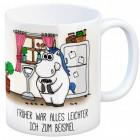 Kaffeebecher mit Einhorn Motiv und Spruch: Früher war alles leichter