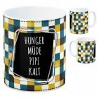 Frauen Kaffeebecher mit Spruch: Hunger, Müde, Pipi, Kalt