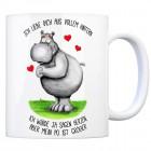 Kaffeebecher mit Nilpferd Motiv und Spruch: Ich liebe dich aus vollem Hintern