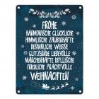 Metallschild mit Spruch: Frohe, besinnliche und friedliche ...