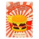 Das Fast Food Burgers & Fries Metallschild in 15x20 cm