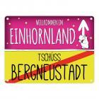 Willkommen im Einhornland - Tschüss Bergneustadt Einhorn Metallschild