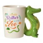 Krokodil Kaffeebecher mit Alligator als Griff
