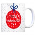 Kaffeebecher mit Weihnachtskugel Motiv und Spruch: Frohe Weihnachten