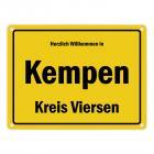 Herzlich willkommen in Kempen, Niederrhein, Kreis Viersen Metallschild