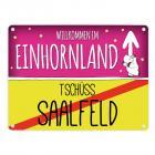 Willkommen im Einhornland - Tschüss Saalfeld Einhorn Metallschild
