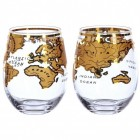 Weltkugel Gläser in gold im 2er Set