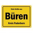 Viele Grüße aus Büren, Westfalen, Kreis Paderborn Metallschild