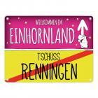 Willkommen im Einhornland - Tschüss Renningen Einhorn Metallschild